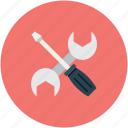 screwdriver, settings, wrench, wrench and screwdriver icon