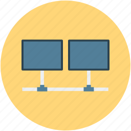 computers, control room, monitors, televisions icon