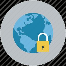 globe, lock, locked, map, navigation icon
