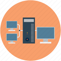 computers, desktop, desktop computer, network, server icon