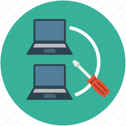 laptops, maintenance, network, notebooks, screwdriver, server, settings icon