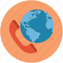 communication, global, globe, international call, map, phone, telephone icon