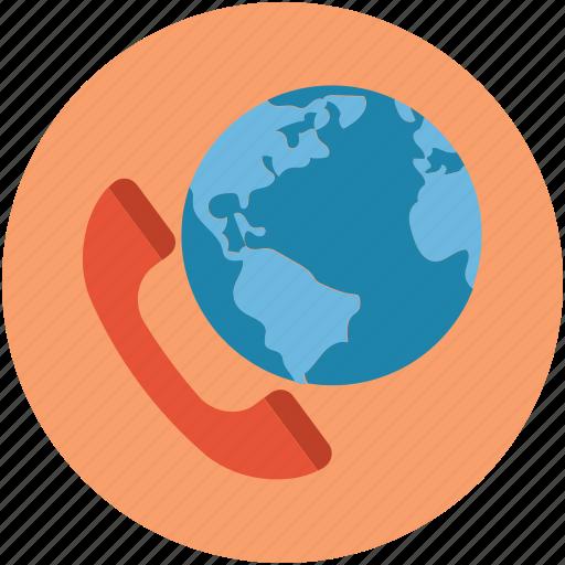 communication, global, globe, international call, map, phone, telephone icon