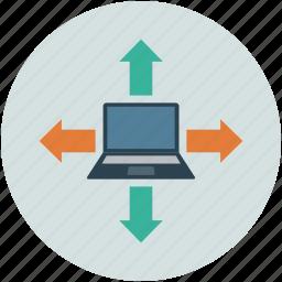 arrows, download, focus, laptop, notebook, target, upload icon