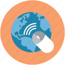 global, globe, map, mouse, pointer, wireless, wireless mouse icon