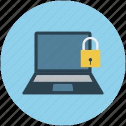 computer, laptop, locked, locked laptop, locked notebook, notebook icon