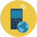 cell phone, cellular phone, communication, globe, map, mobile, mobile phone icon