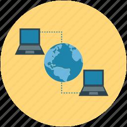 global, globe, laptops, network, notebooks, server icon