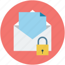 email, letter, locked, locked mail, mail, post, postal mail icon