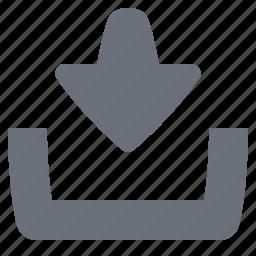 download, inbox, pika, simple icon