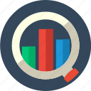 analysis, competitive, marketing, bar, diagram, graph, search icon