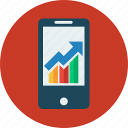 business, connection, graph, internet, marketing, mobile, smartphone icon