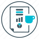 chart, content, cup, mug, pie, seo, update icon