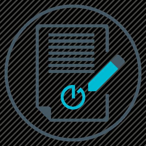 clock, contract, document, file, pencil, seo, timer icon