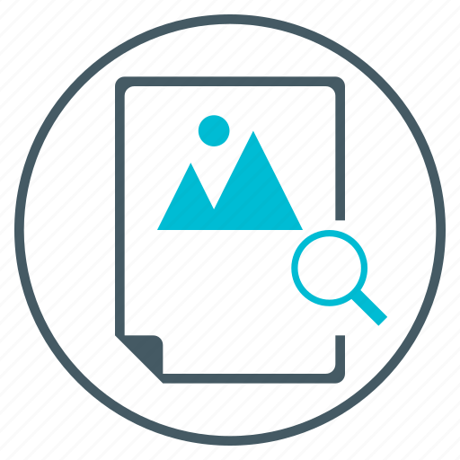 document, file, image, magnifying glass, montain, search, seo icon