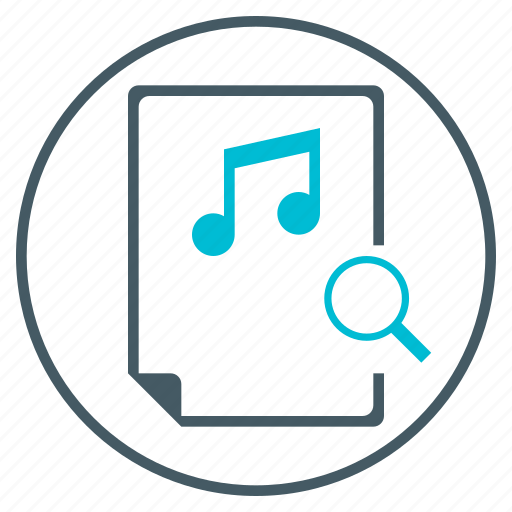 document, file, magnifying glass, music, search, seo icon
