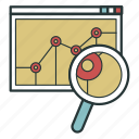 analysis, analytics, magnifier, study icon