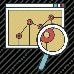 analysis, analytics, magnifier, study icon