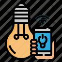 bulb, internet, light, smart, smartphone, things