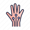 artificial intelligence, cpu, hand, robotic, technology icon