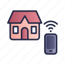 home, remote control, smart house, smartphone, wifi icon
