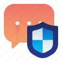 shield, text, conversation, protection, safety, chat