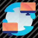 arrow, computer, desktop, sync, synchronize, transfer icon
