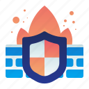 fire, firewall, protection, safety, shield, wall icon
