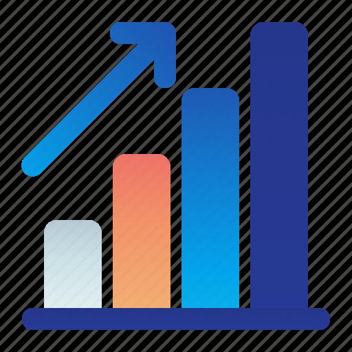 arrow, bar, chart, graph, growth icon