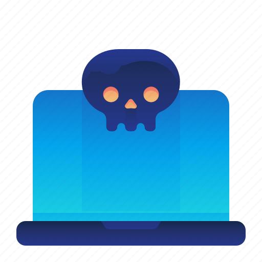 computer, infected, laptop, lethal, virus icon