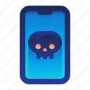 infected, lethal, mobile, phone, smartphone, virus icon