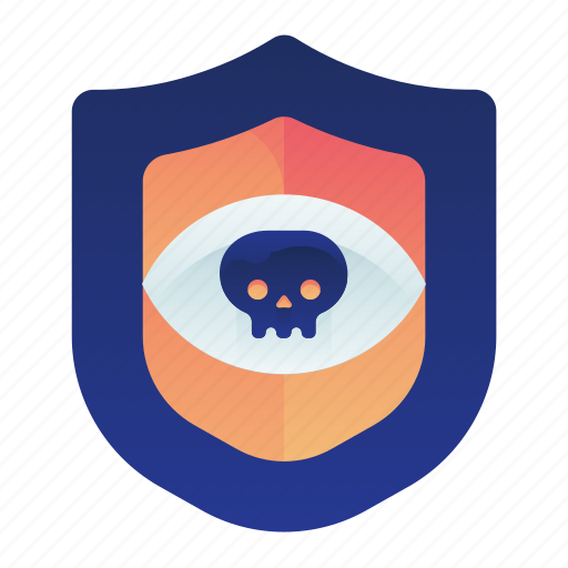 eye, hacked, iris, privacy, safety, shield icon