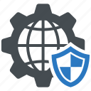 global, internet, security, shield icon