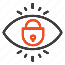 eye, internet, lock, security icon