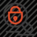 internet, lock, research, search icon