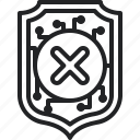 shield, blocked, remove, cross, security
