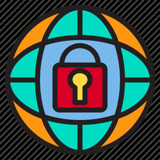 beware, hacker, internet, lock, online, protection, world icon