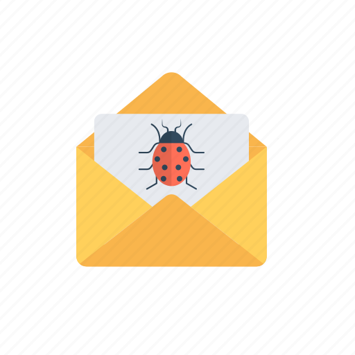 electronic spam, junk mail, malware, spam emails, virus injected mails. icon