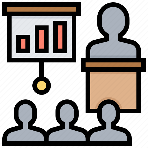 conference, learning, meeting, presentation, training icon