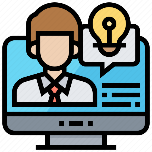 communication, interview, remote, technology, video icon