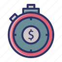 dollar, investment, money, stopwatch, timer icon