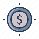 dollar, finance, investment, money, target icon