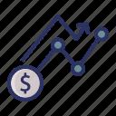 analytic, diagram, dollar, investment, money icon