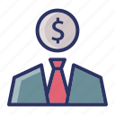 dollar, investment, money, suit icon