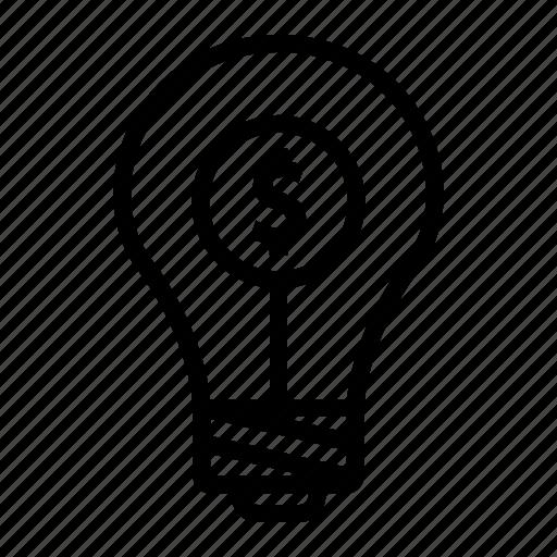 bulb, dollar, idea, investment, money icon