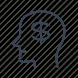 business, dollars, head, man, rich icon