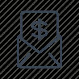 dollar, enveloppe, letter, money, payment icon