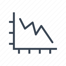 decrease, falling, graph, statistics icon