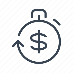 business, countdown, dollar, stopwatch icon