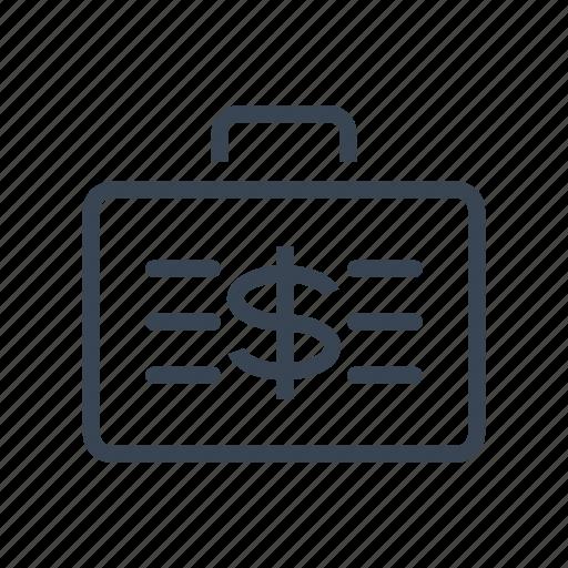 briefcase, cash, dollar, money, suitcase icon